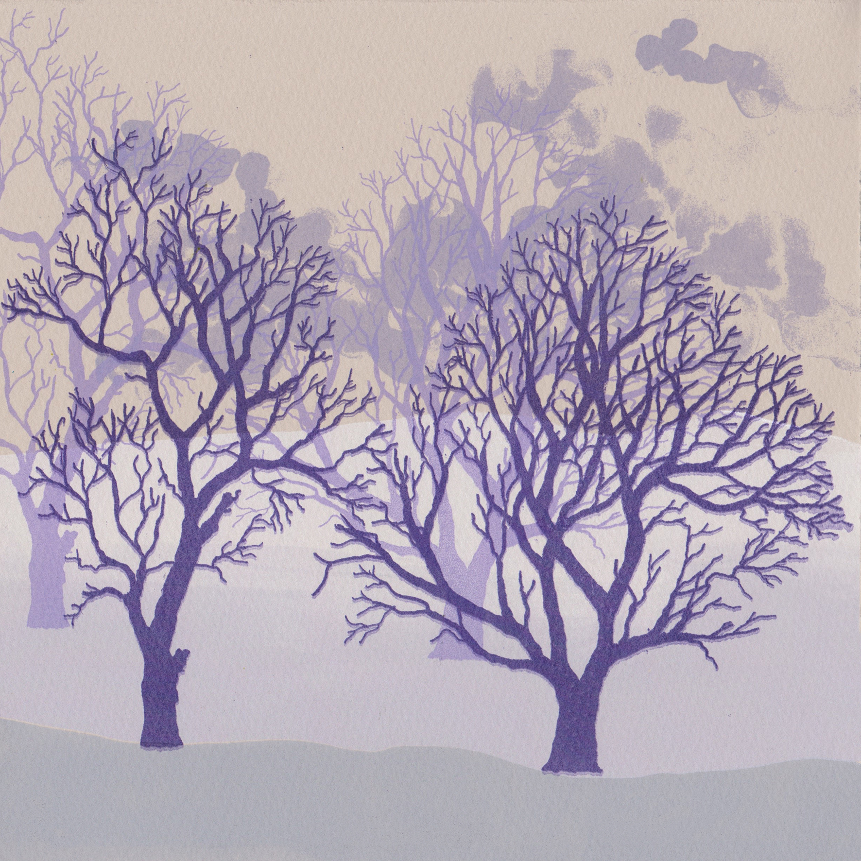 Rona MacLean. Winter Trees Purple. Screen Print