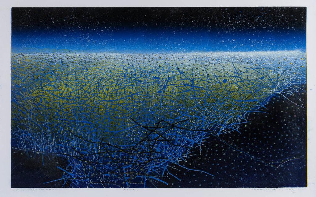 Colour linocut 'Nocturne', 2017, col. x3, W 90cm x H 60cm
