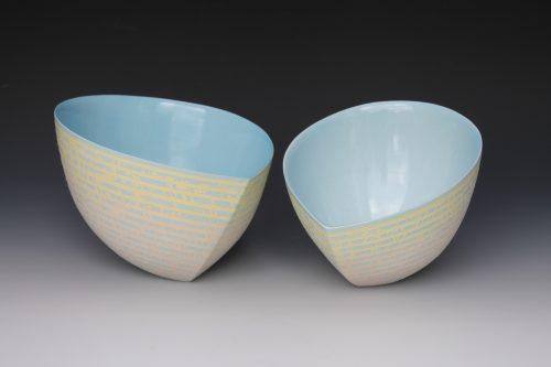 Jenny Morten - Two Blue Tilting Bowls