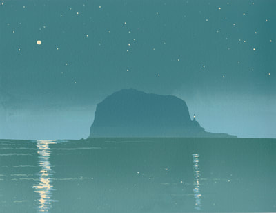 Ian Scott Massie. Bass Rock screenprint 30 x 40cm