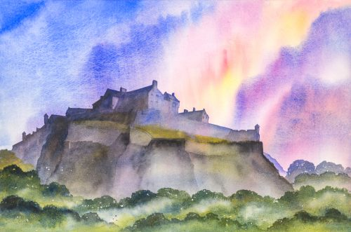 Ian Scott Massie. Edinburgh Castle 53 x 71cm