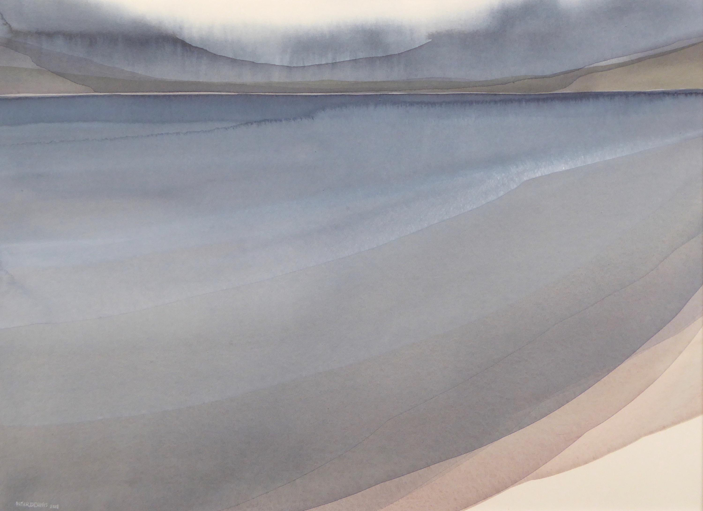 Peter Dvais. After the rain, Watercolour on paper 2018, (70x50cm)