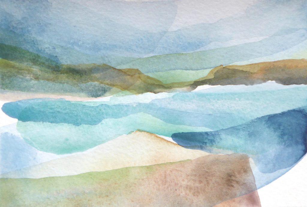 Peter Davis. Culswick, Watercolour on paper 2018, (15x10cm)