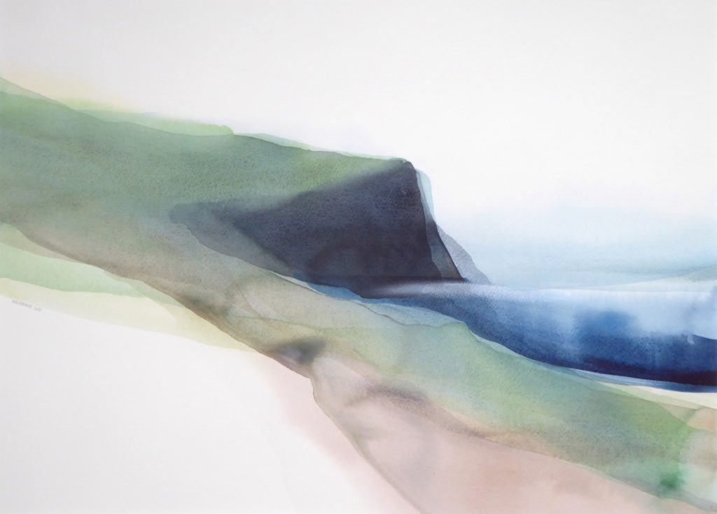 Peter Davis. Face of Neeans, Watercolour on paper 2018, (70x51cm)