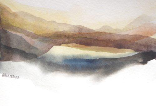Peter Davis. Gilsa Water, Watercolour on paper 2017 (15x10cm)