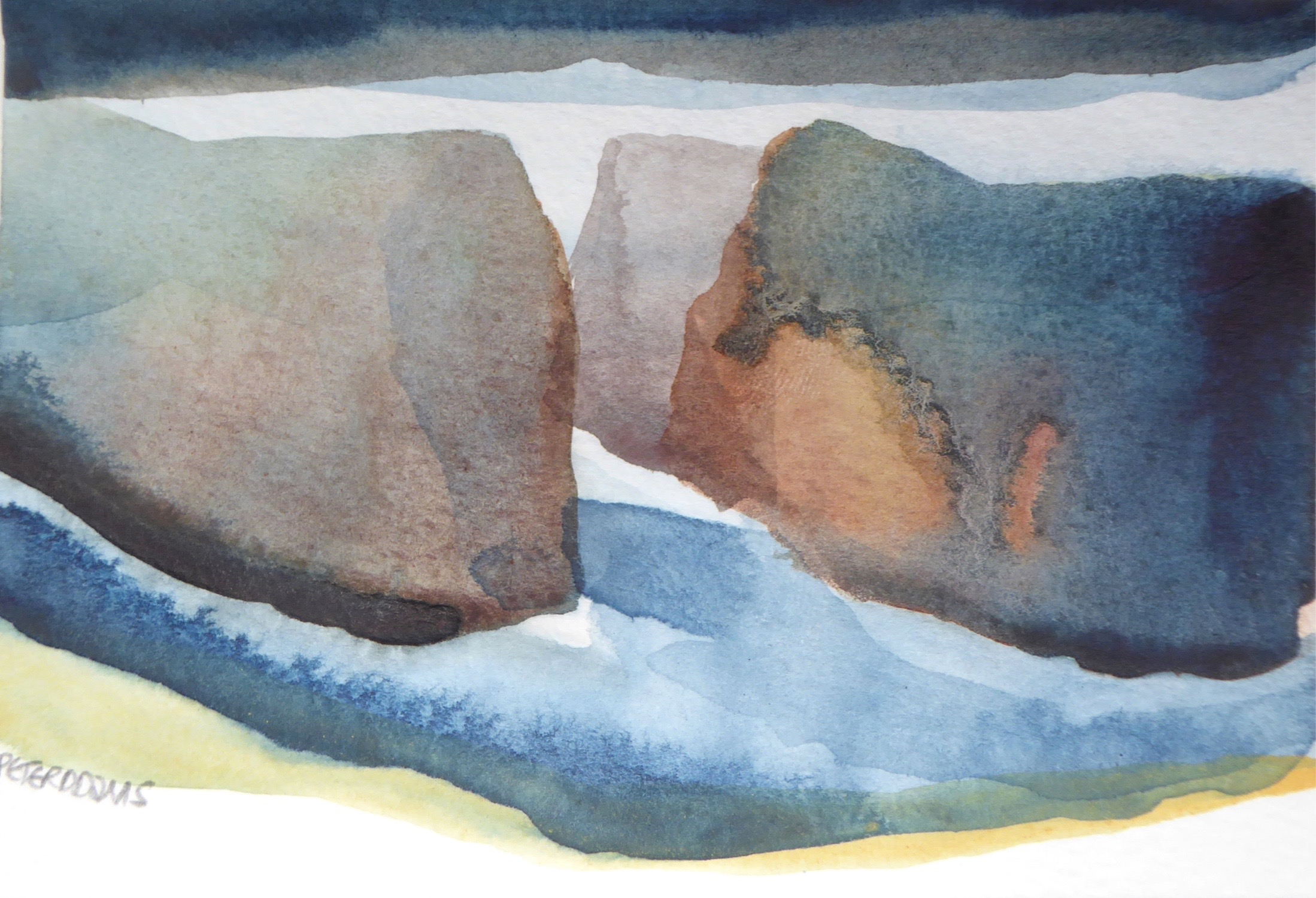 Peter Davis. Hams, Watercolour on paper 2017, (15x10cm)