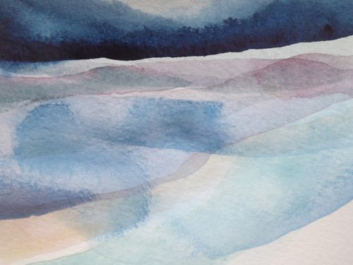 Peter Davis. Heilia Water, Watercolour on paper 2018, (15x10cm)