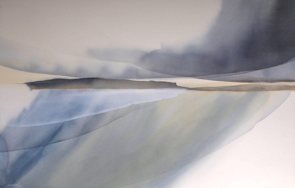 Peter Davis. Leaving Papa, Watercolour, bodycolour and chalk on paper 2018, (96x62cm)