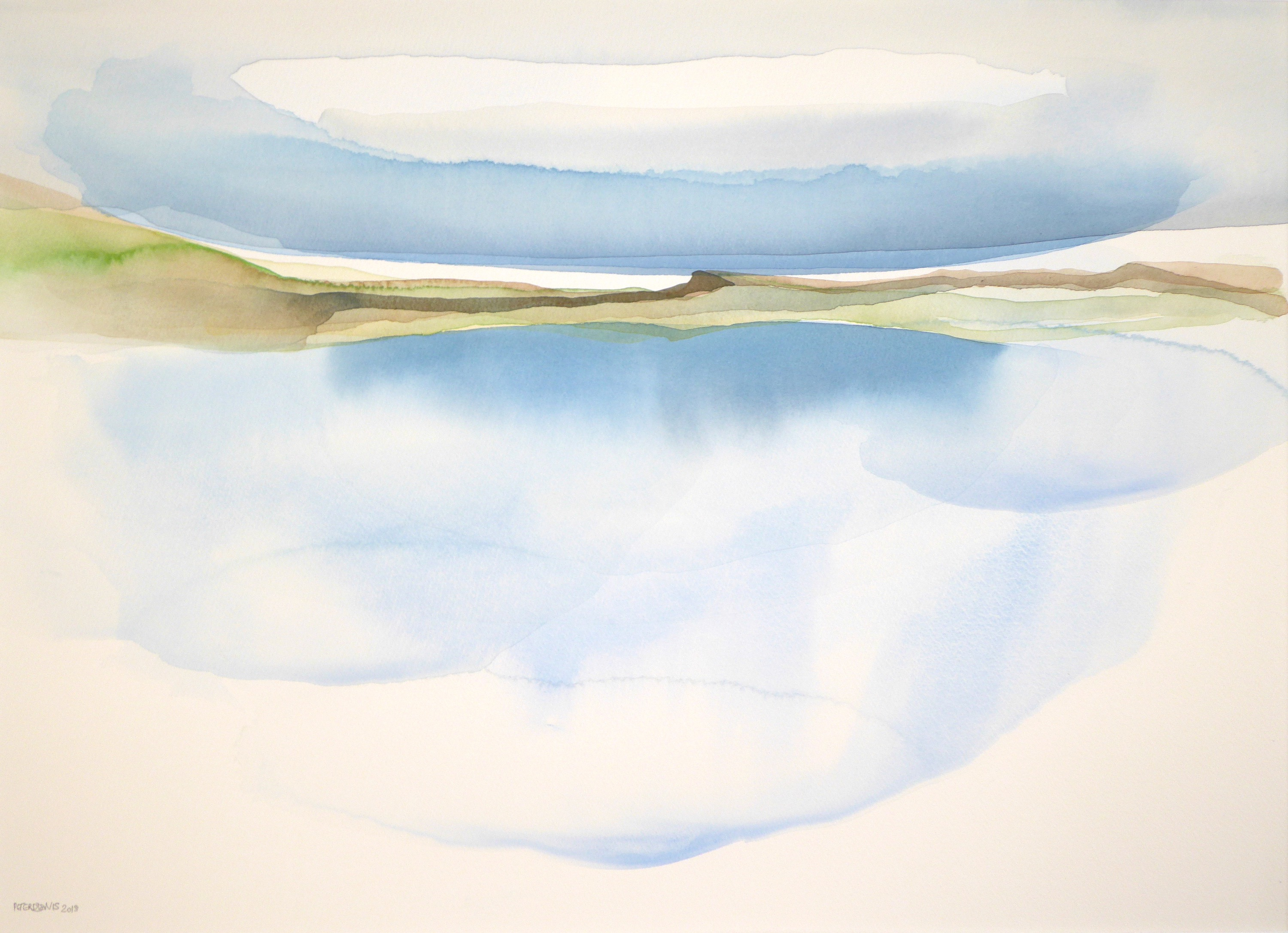 Peter Davis. Loch at Eshaness, Watercolour on paper 2018, (70x50cm)