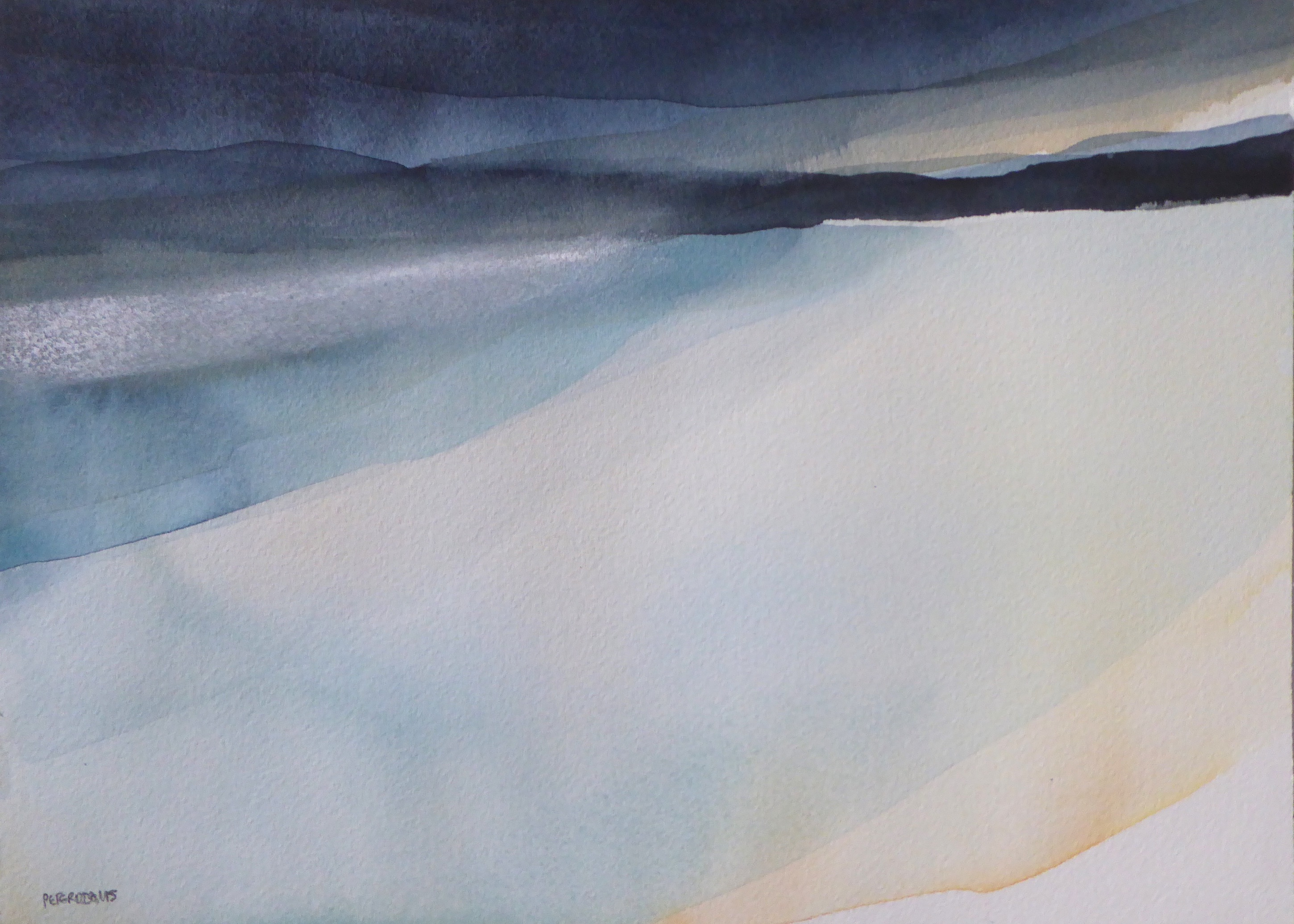 Peter Davis. Passing storm, Watercolour with chalk on paper 2018, 35x25cm)