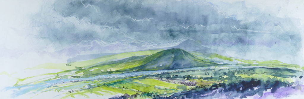 Libby Scott, Distant Storm Over Fife, 30 x 70cm