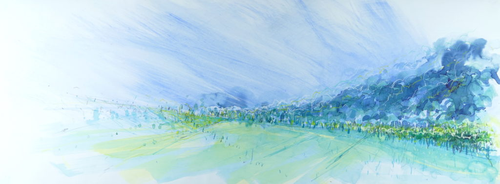 Libby Scott, From Old Kinnaird Church - West, 40 x 80cm