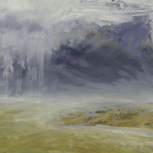 Libby Scott, Rain Over Golden Lit Land, 38 x 38cm