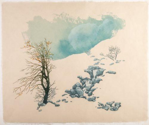 Laura Boswell. Moorland Spring (linocut, 510 x 430)