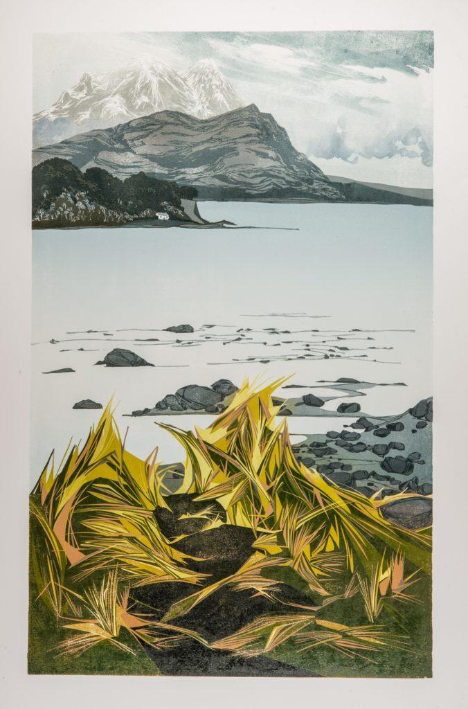 Laura Boswell. Skye to the Mainland (linocut 460 x 730)