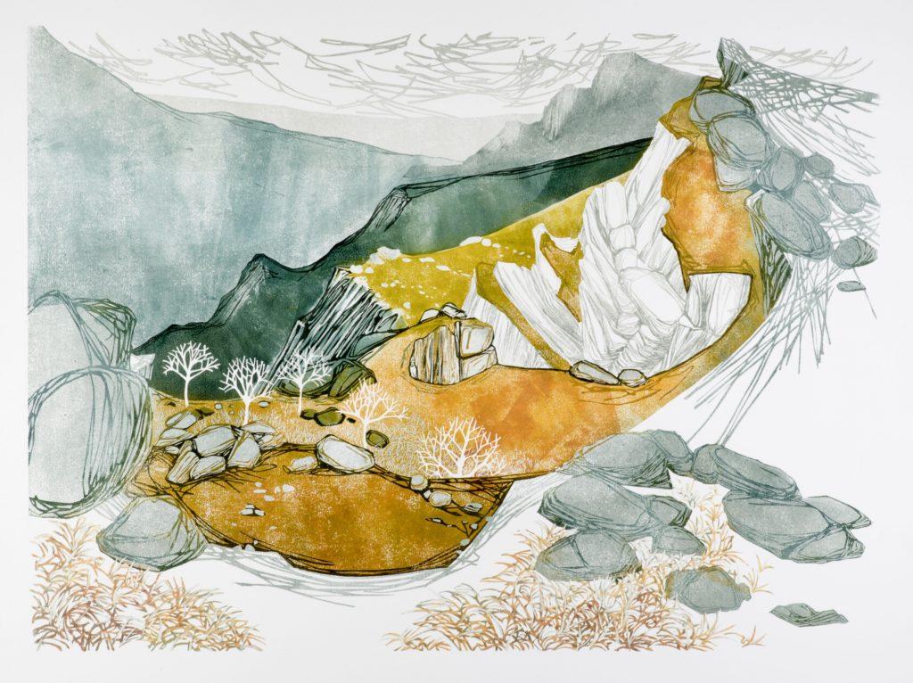 Laura Boswell. Winter Grass (linocut, 590 x 430)