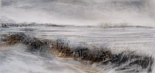 'Silence II', Janine Baldwin, pastel, charcoal and graphite on paper, 23 x 47cm