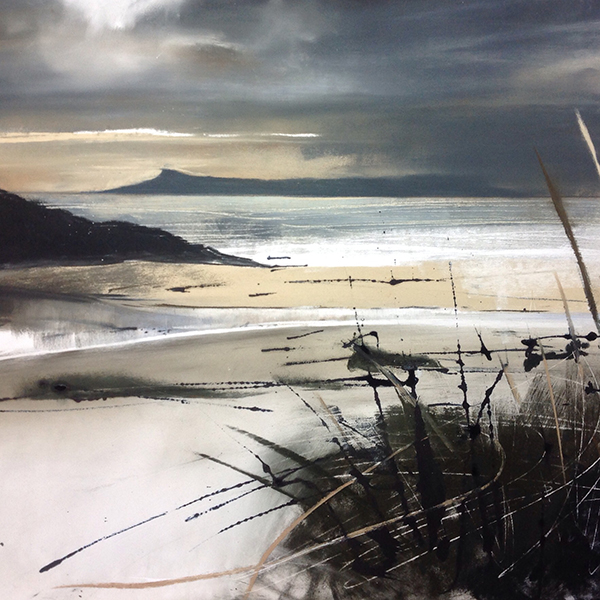 helen Fryer. Winter Sunset over Eigg. 48x48.