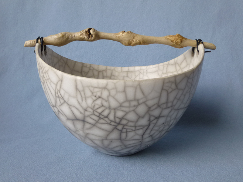 Anne Morrison. Round crackle bowl with knobbly wood