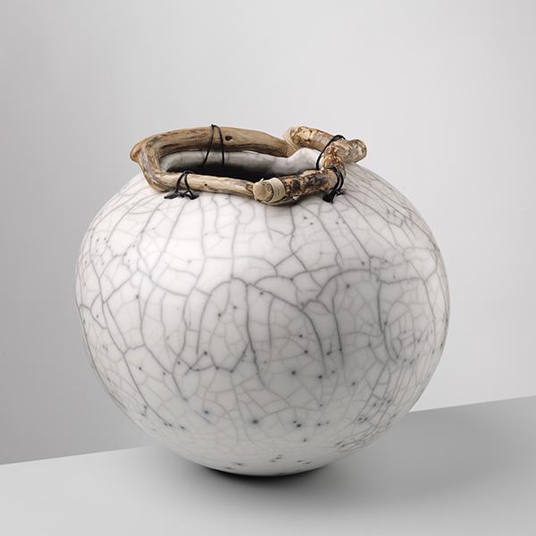 Anne Morrison. Round Handbuilt Crackle Pot