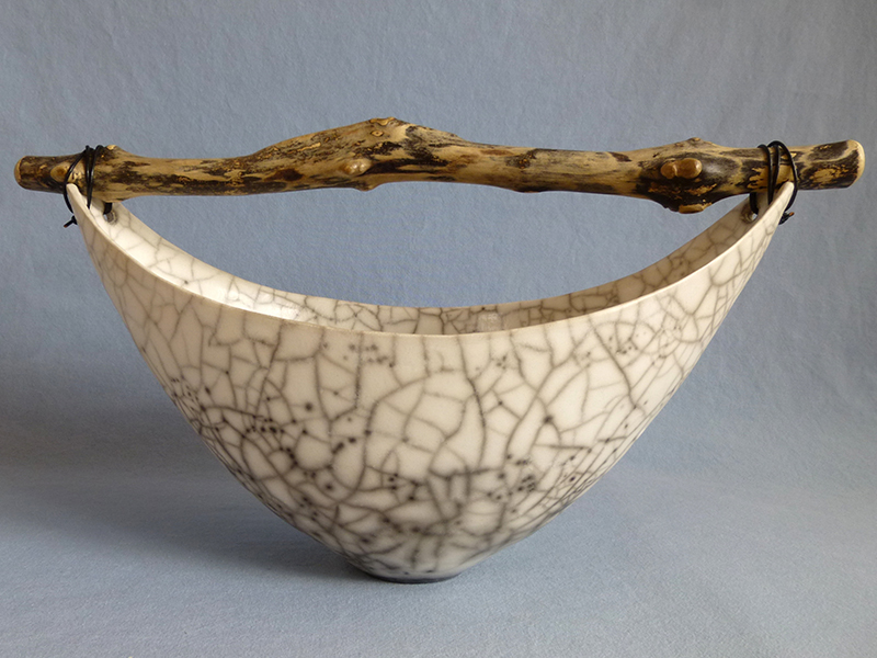 Anne Morrison. Wide crackle bowl with speckled wood