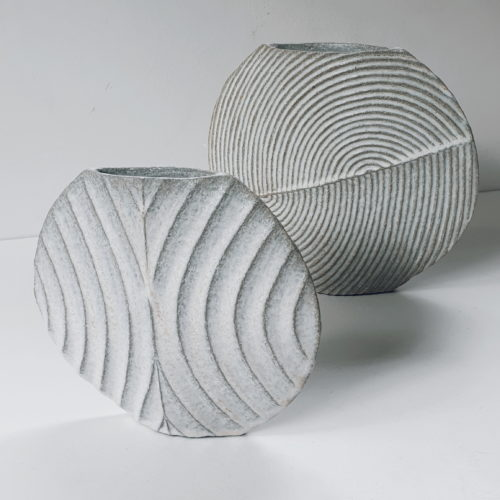 Michele Bianco. Carved 'Disc' Shift vessels