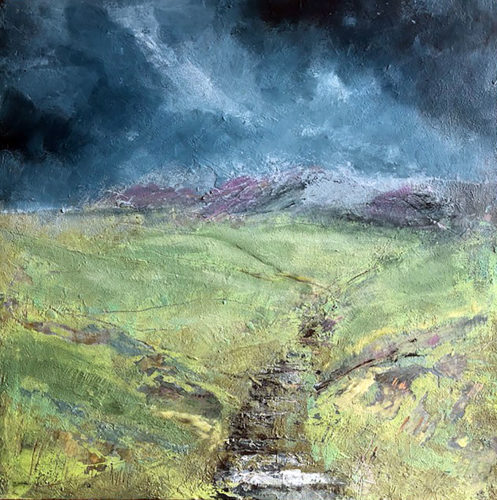 Penny Hunt. Darkening Skies 40x40cm oil on board unframed