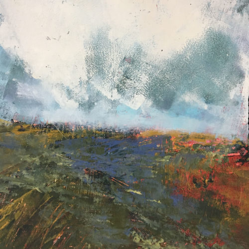 Penny Hunt. Grey Skies and Heather 33x33cm glazed