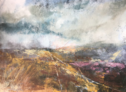 Penny Hunt. Tracks Across the Moors 52x43cm glazed