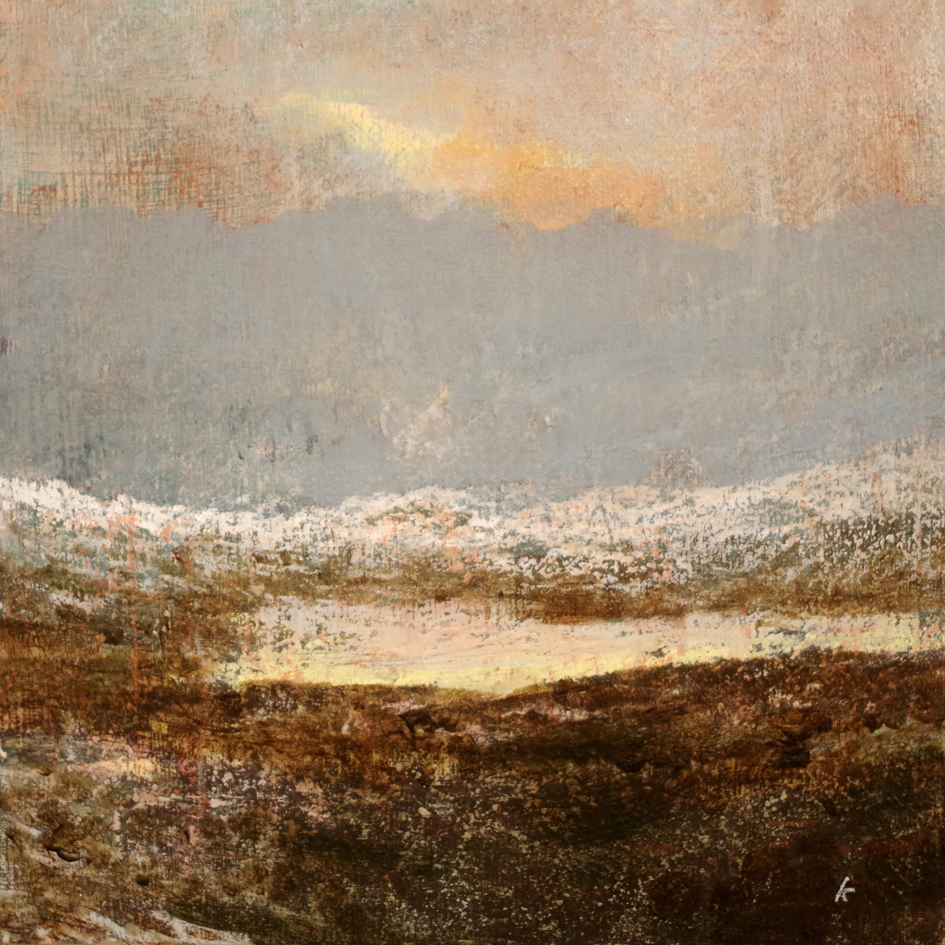 Keith Salmon. 'A Coigach landscape, January', Acrylic & Pastel, 2018, 30 x 30 cm