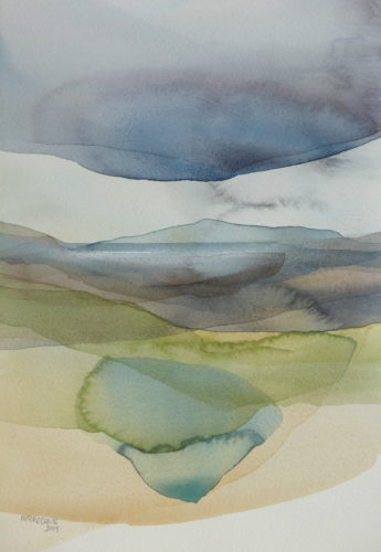 Peter Davis. Lagoon, West Burrafirth, Watercolour on paper 2019 (24x34cm)