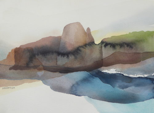 Peter Davis. Laybrack, Silwick, Watercolour on paper 2019, (30x22cm)