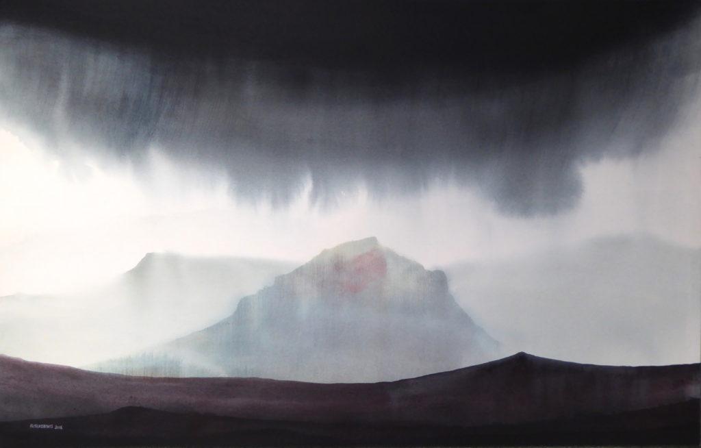 Peter Davis. Tirl, Watercolour on paper 2016( 96x60cm)