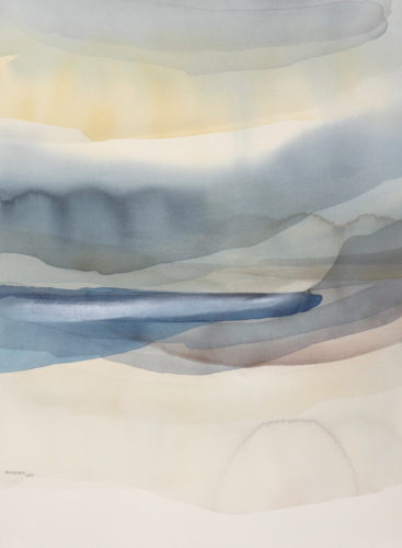 Peter Davis. Skump, Watercolour with chalk rubbing 2019 (68x50cm)
