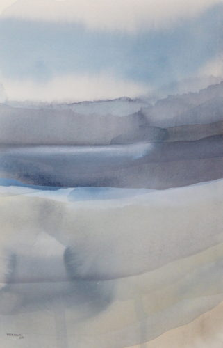 Peter Davis. Doon-dragg, Watercolour on paper with chalk rubbing, 2019 (32x51cm)