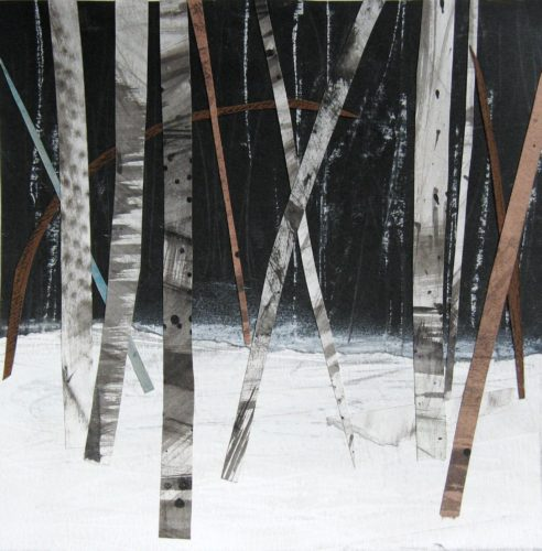 'Birch Trees in the Snow II', Janine Baldwin, acrylic, pastel, charcoal and graphite collage on paper, 16cm x 16cm