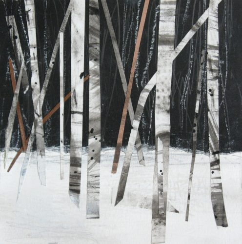 'Birch Trees in the Snow', Janine Baldwin, acrylic, pastel, charcoal and graphite collage on paper, 16cm x 16cm