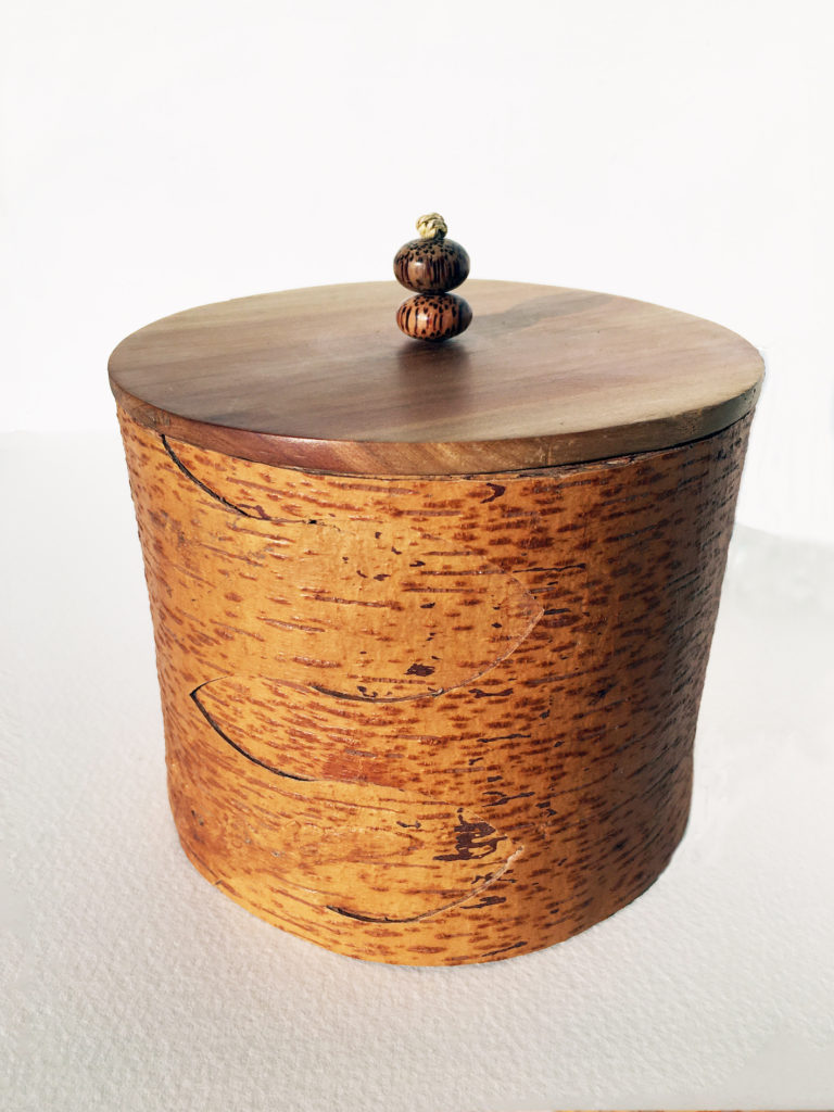 TIm Palmer. Birch bark cannister with cherry lid 125mm dia x 105 mm ht
