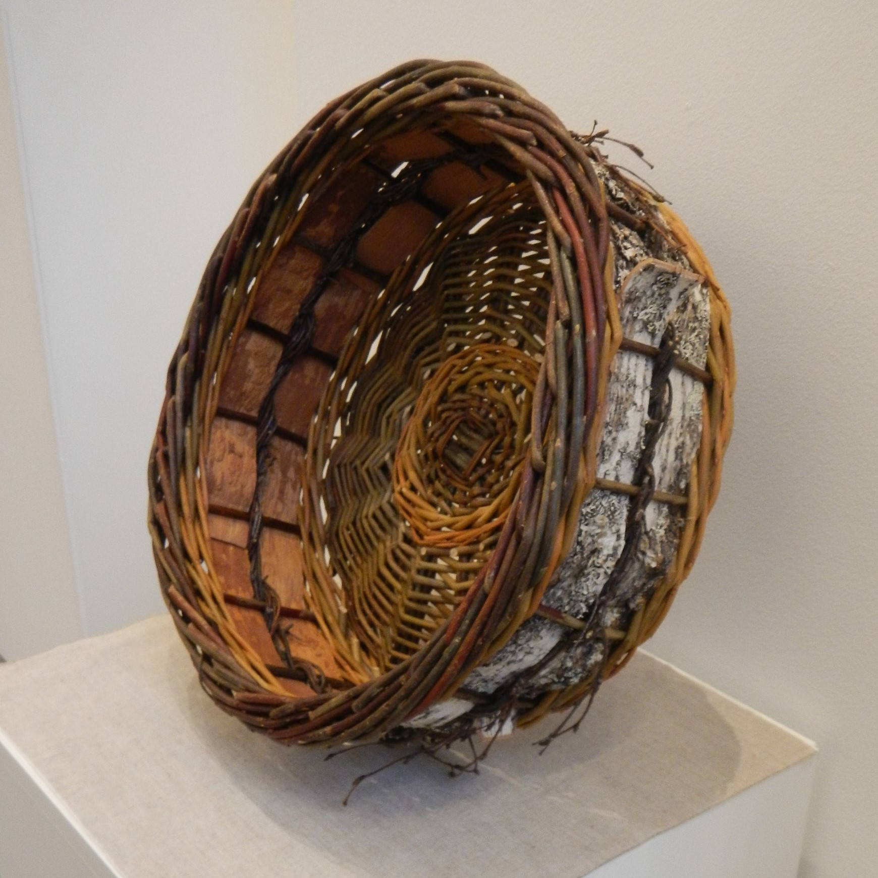 Tim Palmer. Two tier willow and birch bark basket