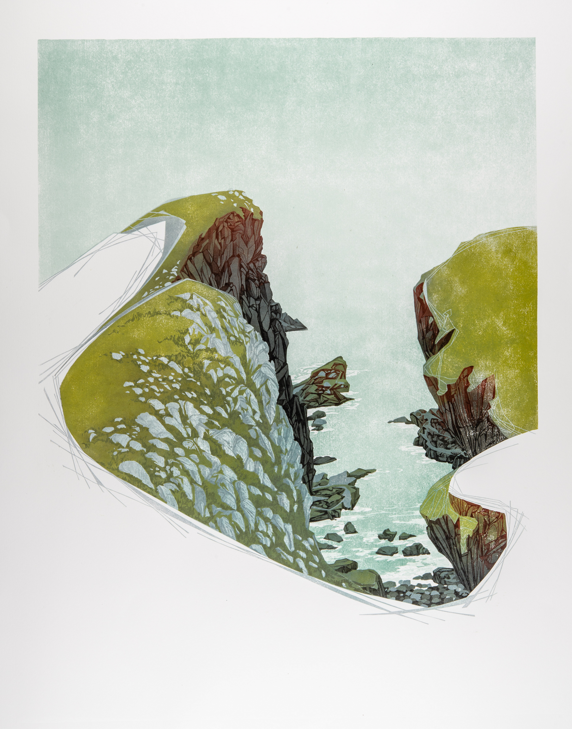 Laura Boswell. Between Cliffs, St Abbs Head (Linocut - 540 x 680 mm)