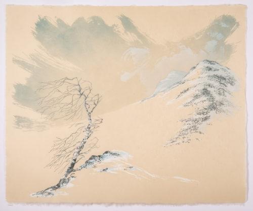 Laura Boswell. Birch and Winter Sky (Linocut - 510 x 430 mm)