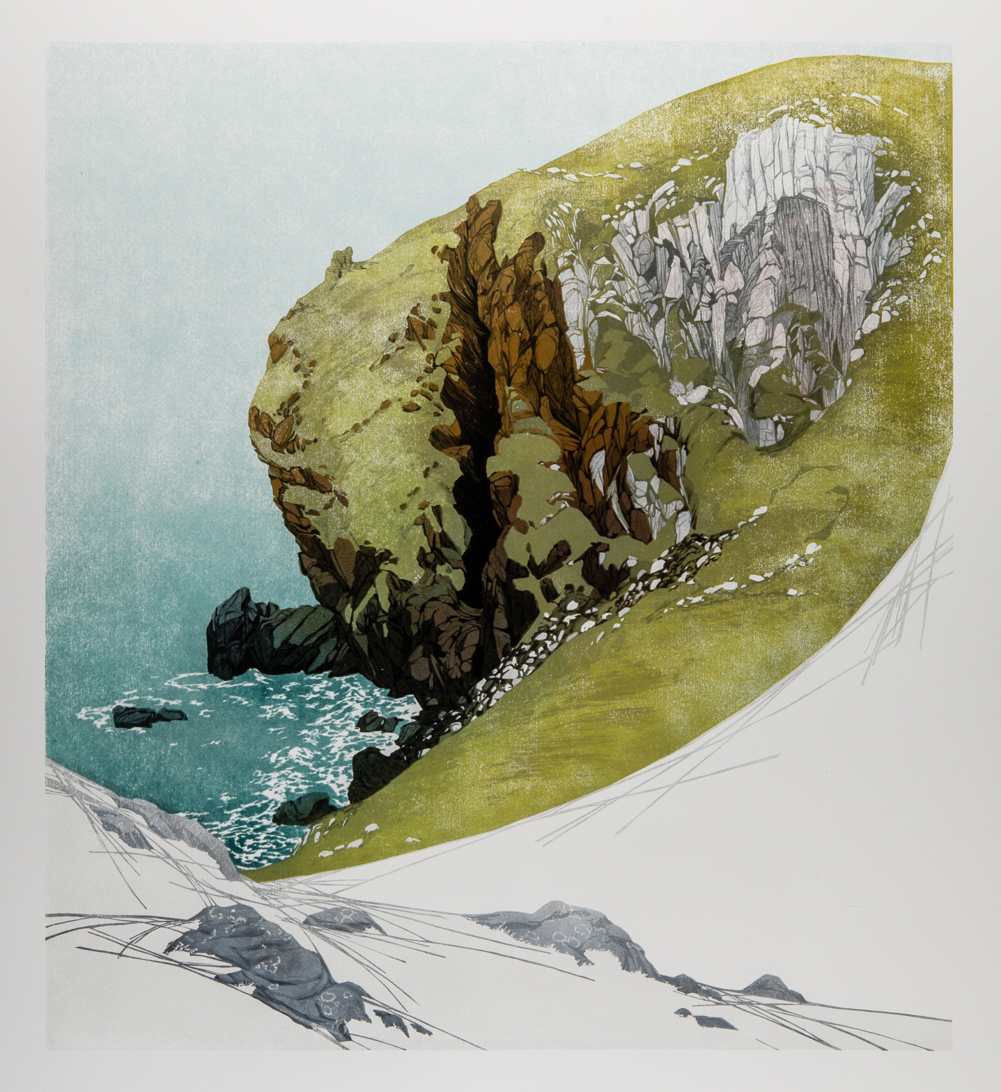 Laura Boswell. Divided Cliff, St Abbs Head (Linocut - 540 x 600 mm