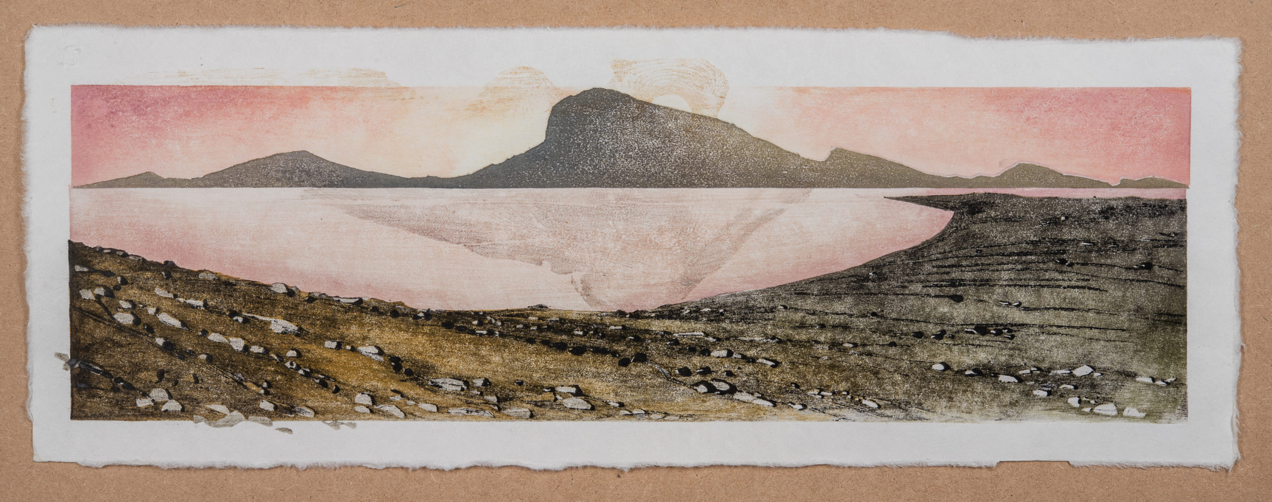 Laura Boswell. Near Applecross, rose sky (Woodblock - 560 x180 mm)