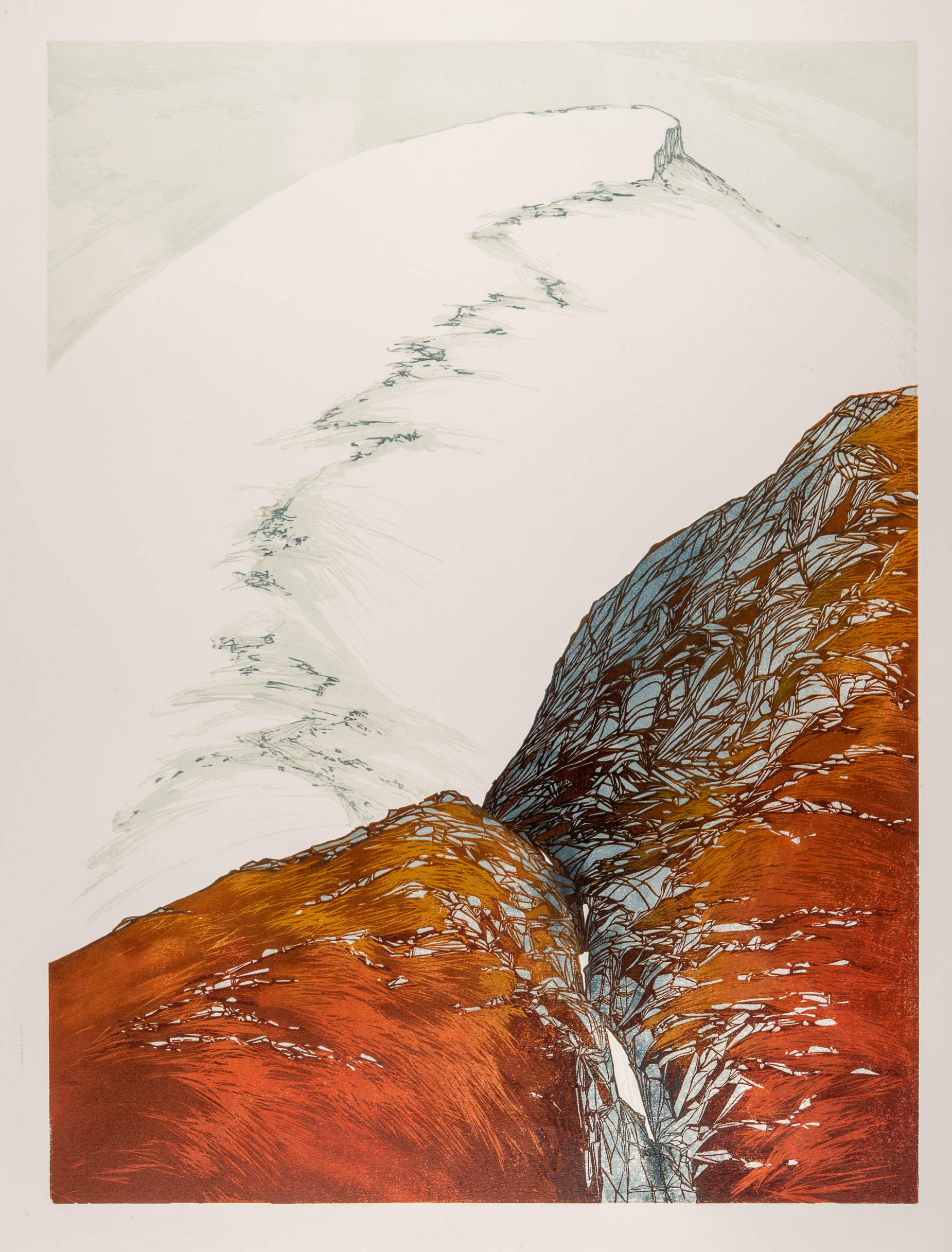 Laura Boswell. Red Falls (Linocut - 440 x590 mm)