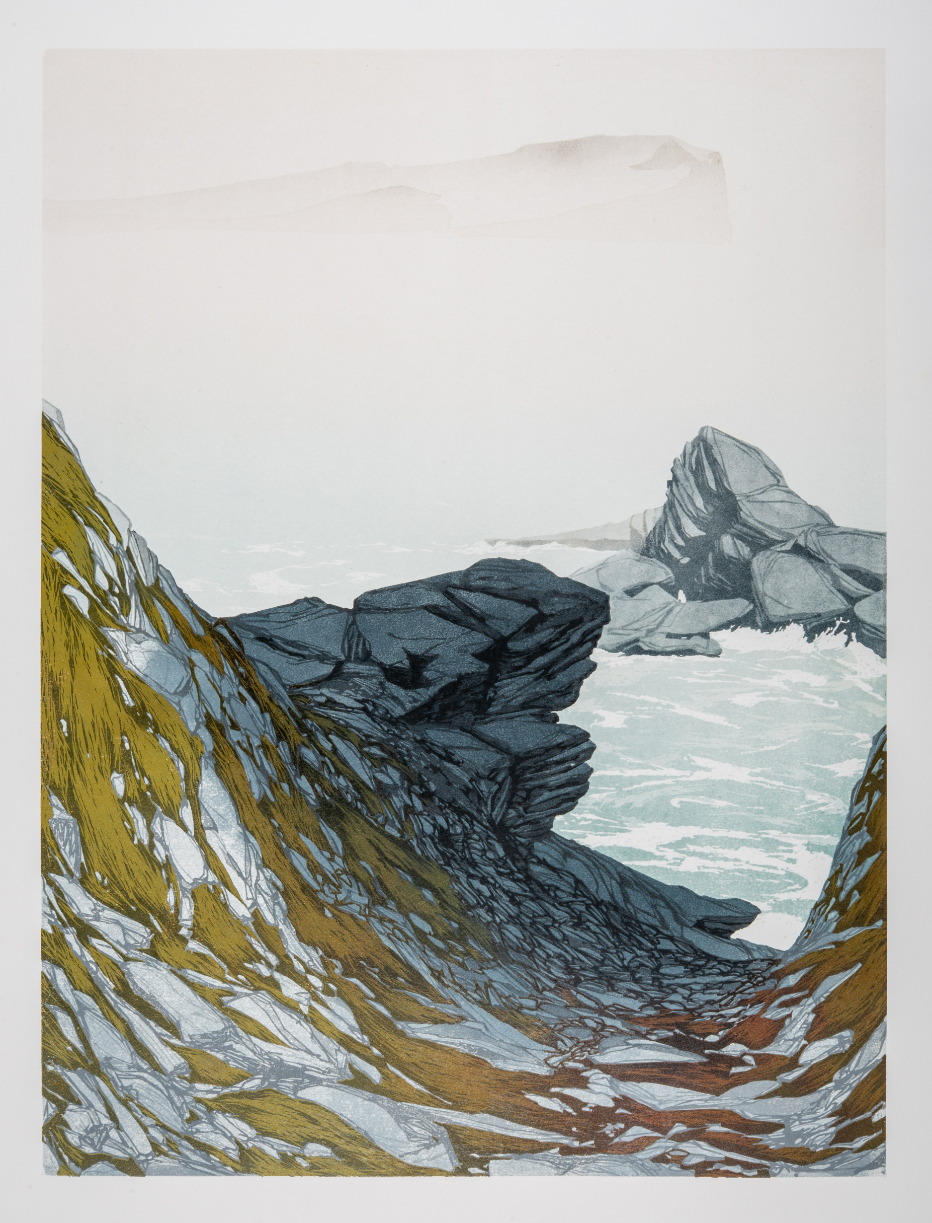 Laura Boswell. Skye Sea Mist (Linocut - 440 x590 mm)