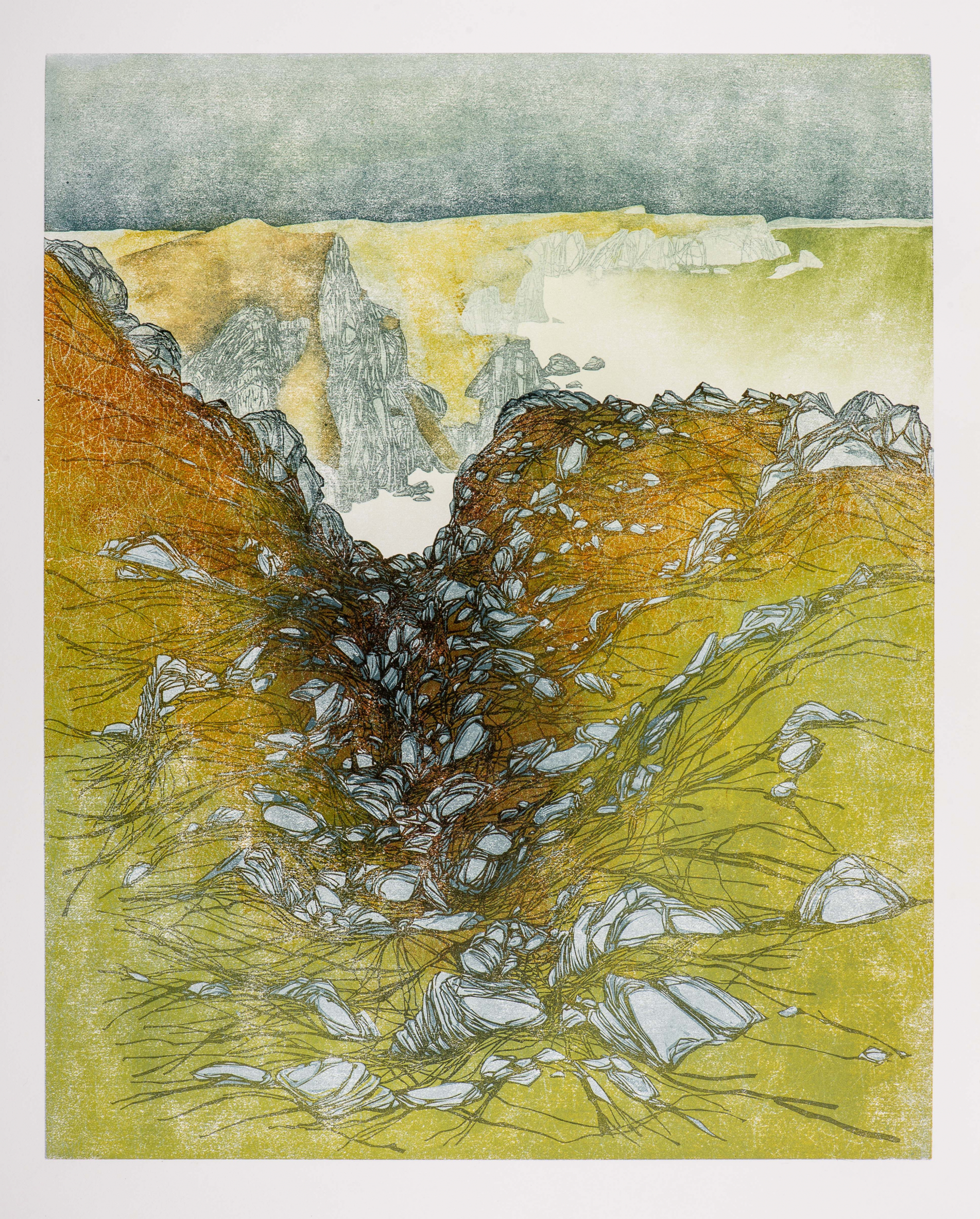 Laura Boswell. St Abbs, looking north (Linocut - 595 x 480 mm)