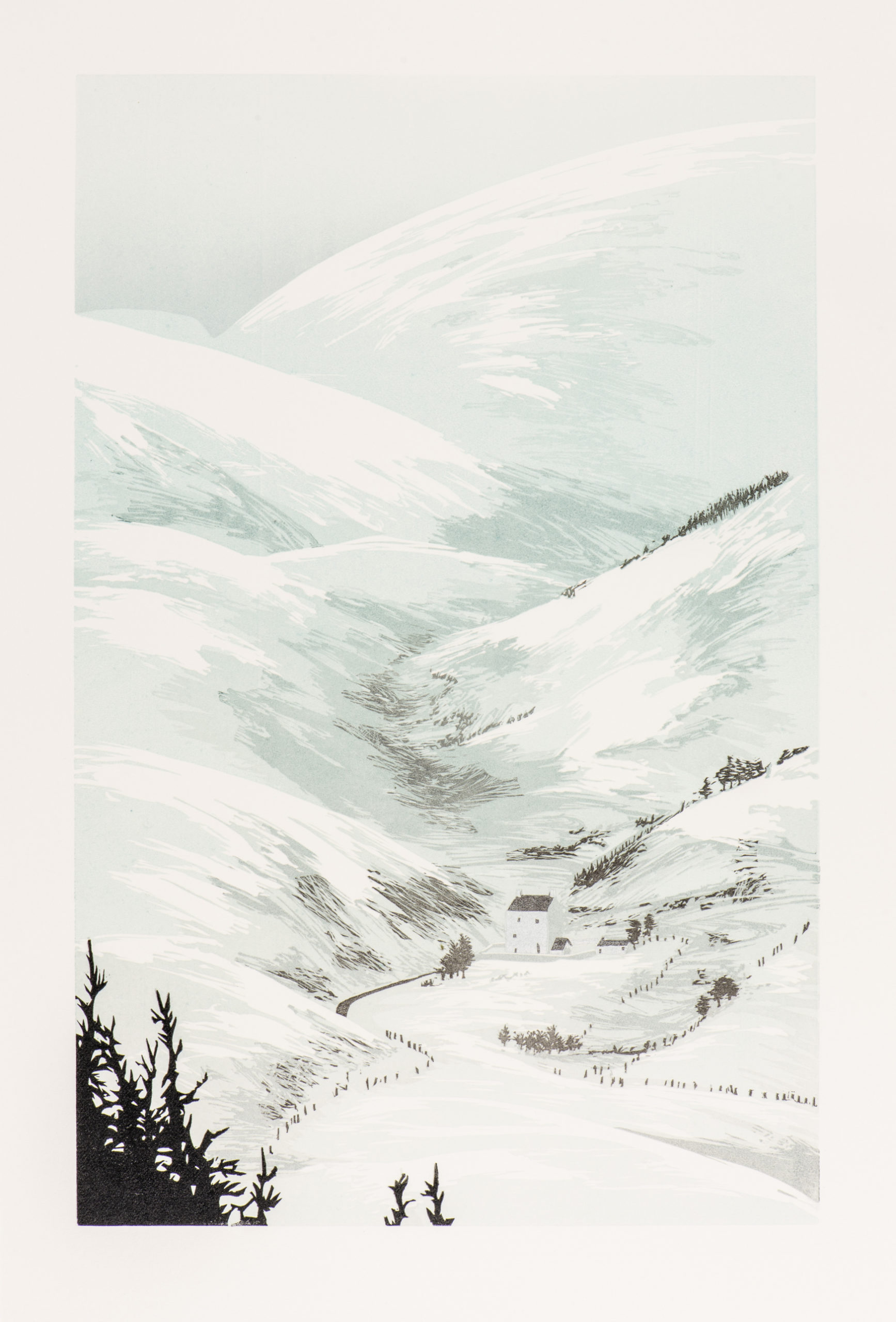 Laura Boswell. Winter at Corgaff (Linocut - 290 x450 mm)