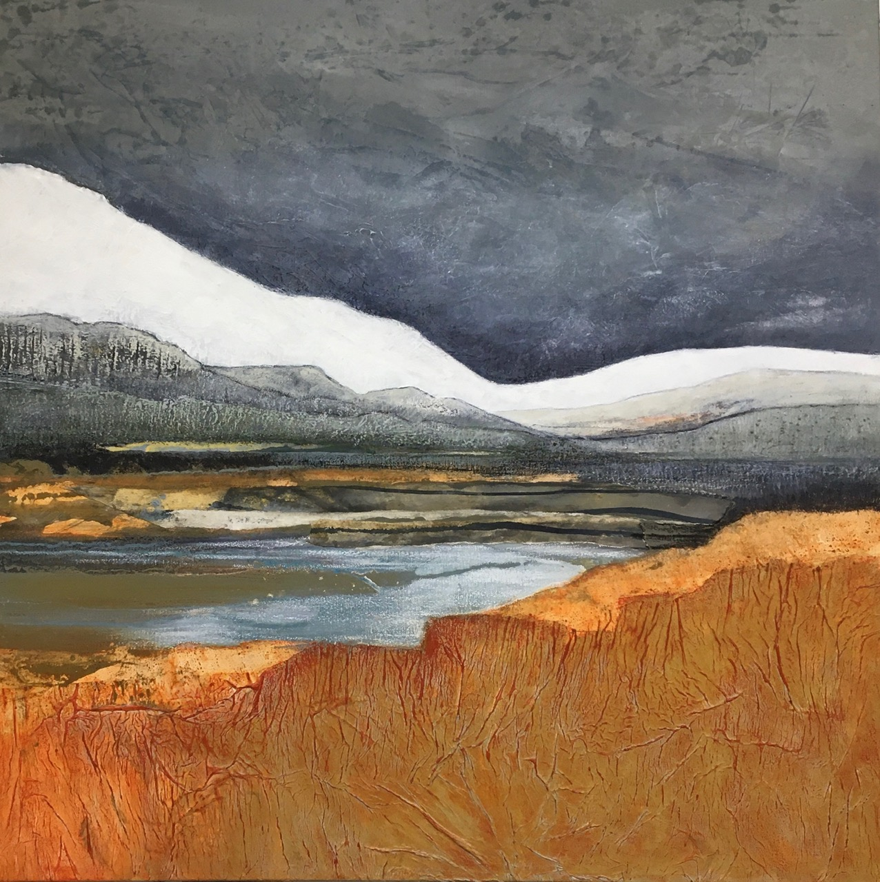 Glynnis Carter. 'Snow on the Tops' 91 x 91 cm