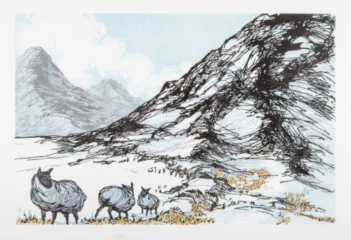 Laura Boswell. Sheep at the border (Linocut - 340 x 225 mm)