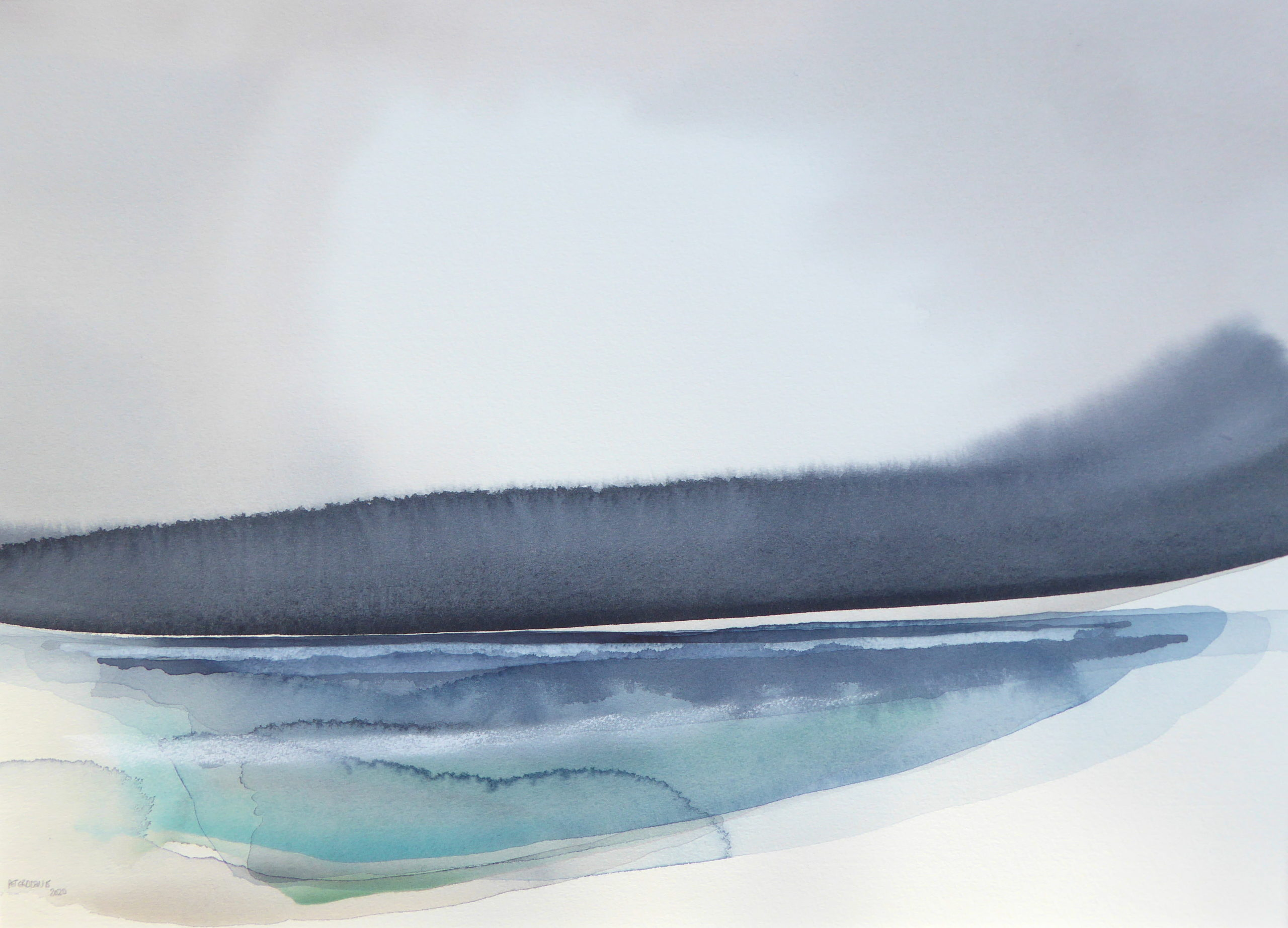 Peter Davis. Tirl approaching, Watercolour on paper 2020 (50x70cm)